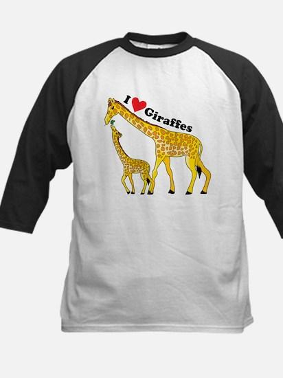 I Love Giraffes Kids Baseball Jersey