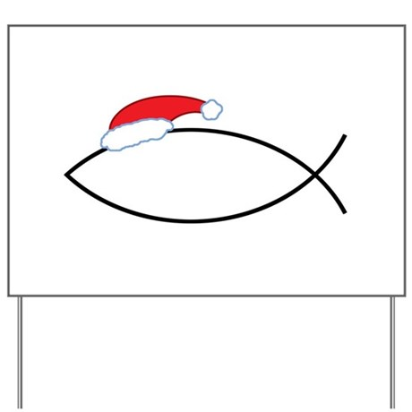 Santa Jesus Fish Yard Sign