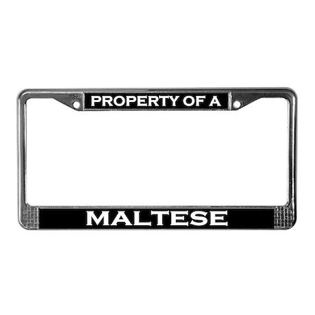 Property of Maltese License Plate Frame