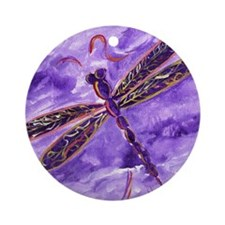 Purple Dragonfly Ornament (Round)