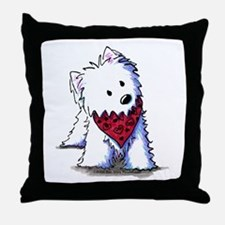 Kissing Bandit Westie Throw Pillow