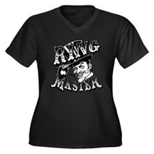 Ring Master Women's Plus Size V-Neck Dark T-Shirt