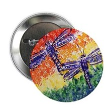 "Rainbow Dragonflies 2.25"" Button (10 pack)"