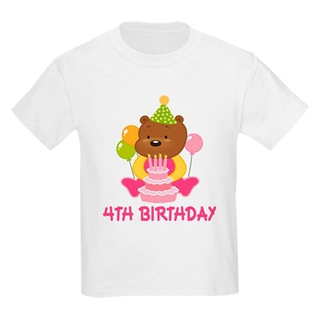 Girl Bear 4th Birthday Kids Light T-Shirt