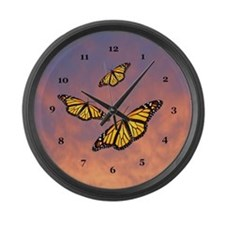 Monarch Butterfly Sunset Large Wall Clock