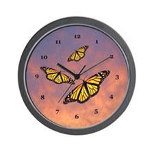 Monarch Butterfly Sunset Wall Clock