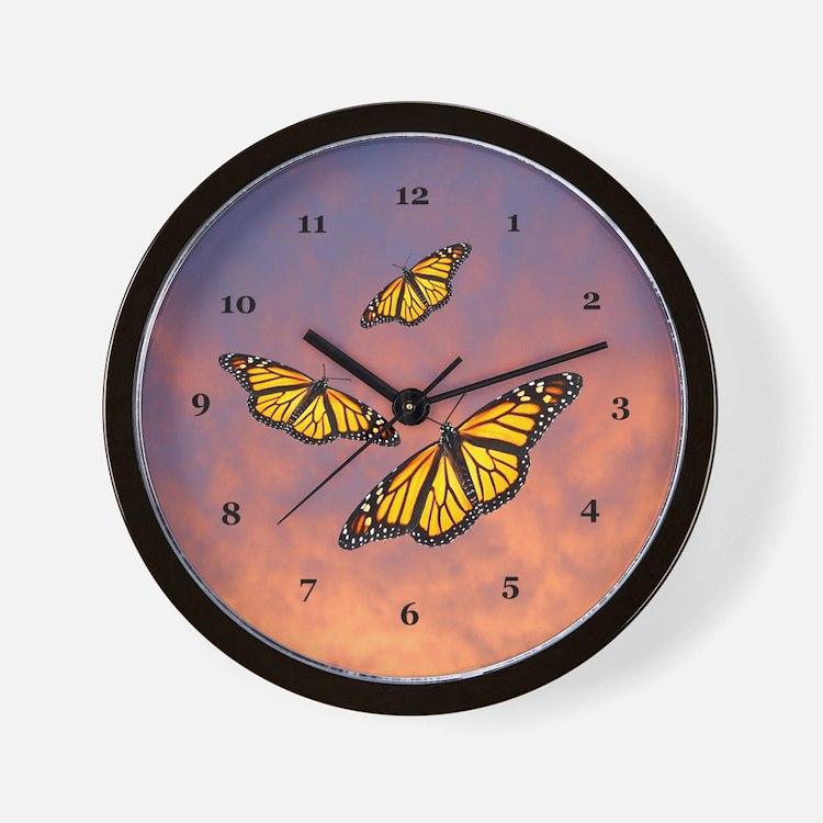 Monarch Butterfly Sunset Wall Clock