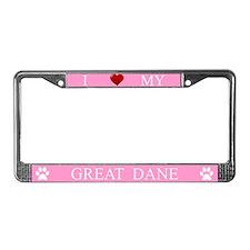 Pink I Love My Great Dane License Plate Frame