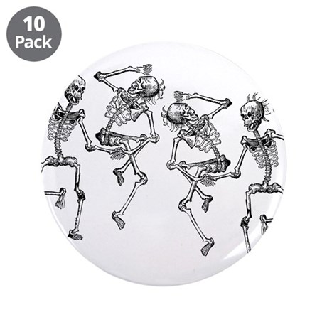 "Dancing Skeletons 3.5"" Button (10 pack)"