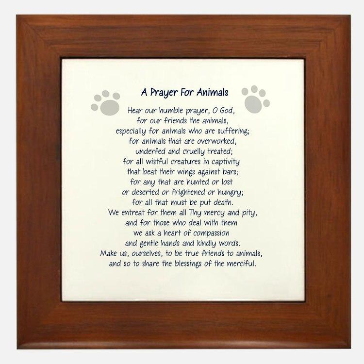 A Prayer For Animals Framed Tile