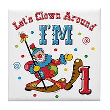 Clown Around 1st Birthday Tile Coaster