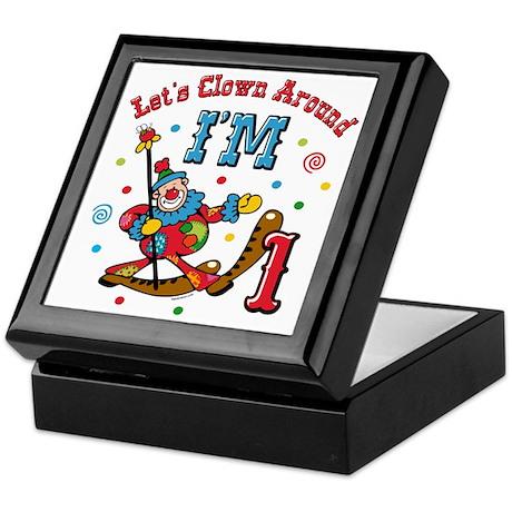 Clown Around 1st Birthday Keepsake Box