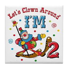 Clown Around 2nd Birthday Tile Coaster