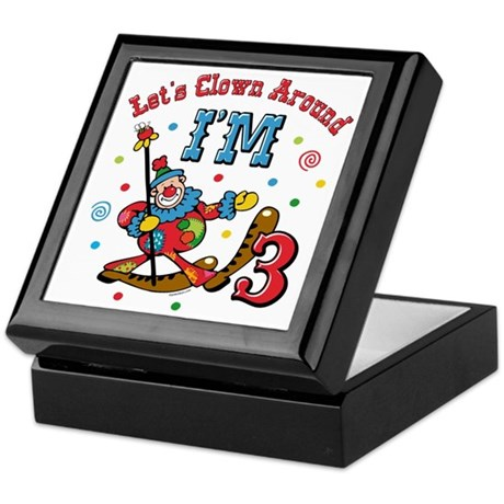 Clown Around 3rd Birthday Keepsake Box