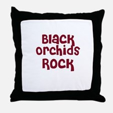 Black Orchids Rock Throw Pillow