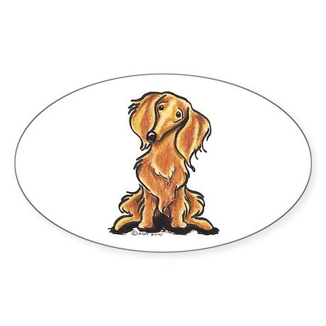 Longhair Dachshund Lover Sticker (Oval)