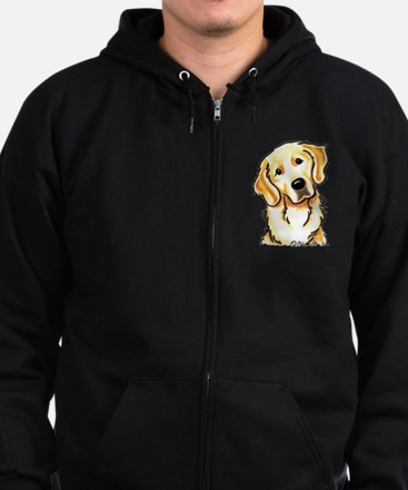 Golden Retriever Portrait Zip Hoodie (dark)