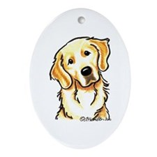 Golden Retriever Portrait Ornament (Oval)