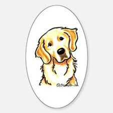 Golden Retriever Portrait Sticker (Oval)