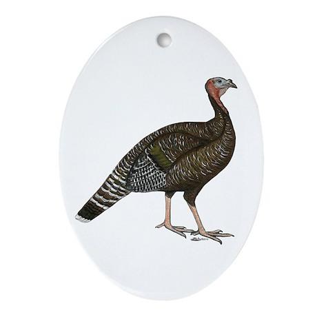 Turkey Standard Bronze Hen Ornament (Oval)
