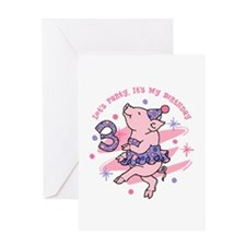 Tutu Piggy 3rd Birthday Greeting Card