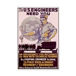 Engineers and Mechanics Wanted Mini Poster Print