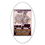 Engineers and Mechanics Wanted Sticker (Oval)