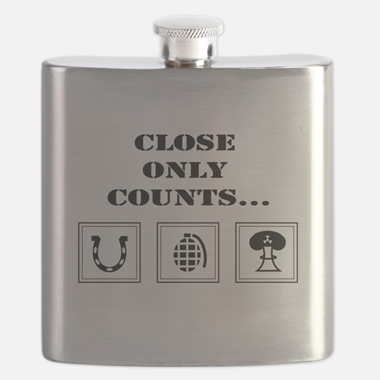Close Only Counts white Flask