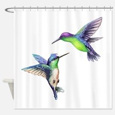 Pair of Metallic Green Blue and Pur Shower Curtain