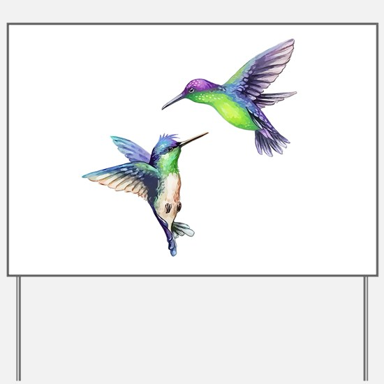 Pair of Metallic Green Blue and Purple H Yard Sign