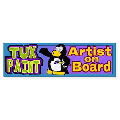 """""""Tux Paint Artist on Board"""" Bumper Sticker"""