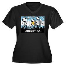World Cup Argentina Women's Plus Size V-Neck Dark