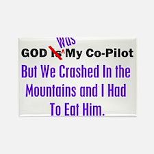 God was my co-pilot purple Rectangle Magnet