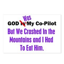 God was my co-pilot purple Postcards (Package of 8