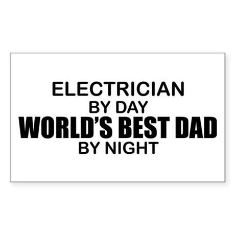 World's Best Dad - Electrician Sticker (Rectangle)