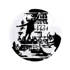 "Mad Scientist Skeletons 3.5"" Button"
