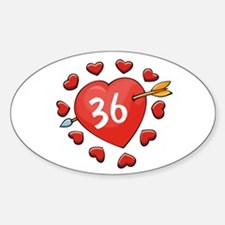 36th Valentine Dog T-Shirt Oval Decal