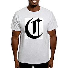 "Letter ""C"" (Gothic Initial) Ash Grey T-Shirt"