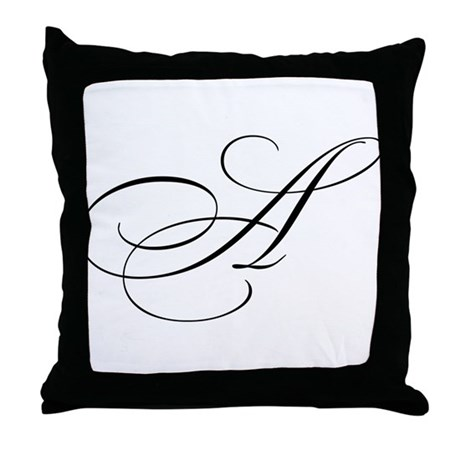 """Letter """"A"""" (Cursive Initial) Throw Pillow"""