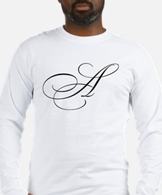 "Letter ""A"" (Cursive Initial) Long Sleeve T-Shirt"