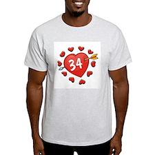 34th Valentine Ash Grey T-Shirt