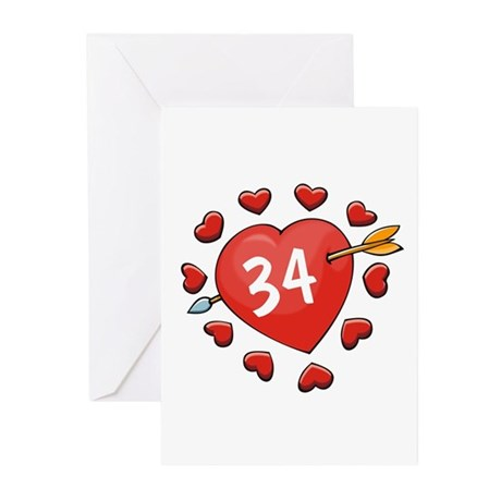 34th Valentine Greeting Cards (Pk of 10)