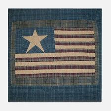 Primitive Americana American Flag Ceramic Art Tile