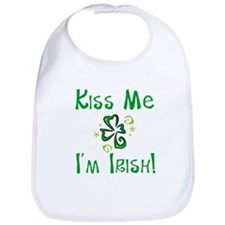 Kiss Me I'm Irish Whimsical Shamrock Bib