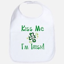 Kiss Me I'm Irish Whimsical Shamrock Bib