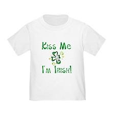 Kiss Me I'm Irish Whimsical Shamrock Toddler Tee