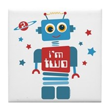 Robot 2nd Birthday Tile Coaster