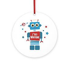 Robot 3rd Birthday Ornament (Round)
