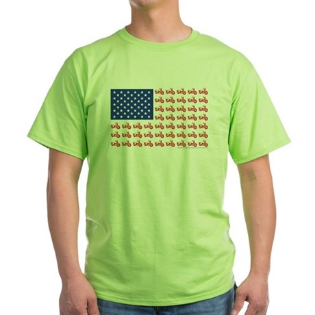 Old Time Motorcycle Flag Green T-Shirt