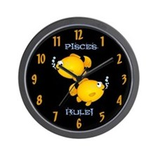 Pisces Rule Goldfish Wall Clock
